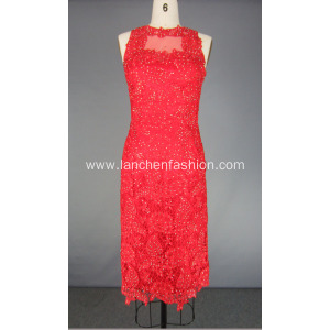 Red Lace Prom Gown Homecoming Party Dress