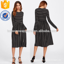 Mixed Striped Tee Dress Manufacture Wholesale Fashion Women Apparel (TA3172D)