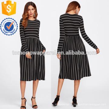 Mixed Striped Tee Dress Manufacture Wholesale Fashion Women Apparel (TA3172D)