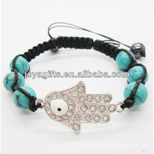 Natural turquoise beads with diamante hamsa woven bracelet