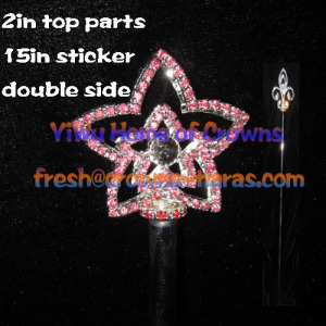 Star Shaped Crystal Pageant Scepter--Double Side