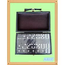 Doble seis dominó negro pintura blanca con caja de cuero