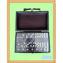 Double six domino noir de peinture blanche avec boîte en cuir