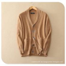 Herren Pure Cashmere Strickjacke für Winter Dicker Pullover Mantel mit Einsatztasche V-Ausschnitt Einreiher