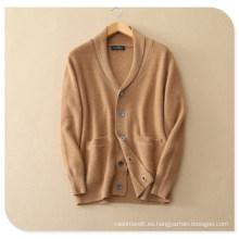 Cárdigan de tejer de cachemira pura para hombre para invierno Abrigo de jersey grueso con bolsillo de inserción V Cuello de un solo pecho