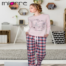 MIORRE OEM WOMEN'S NEW 2017 COLLECTION LONG SLEEVEE ELEGANT PRINTED TOP & PLAID PATTERNED BOTTOM SLEEPWEAR PAJAMAS SET