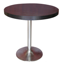 Round Dining Table Wooden Hotel Furniture with Stainless Steel Leg