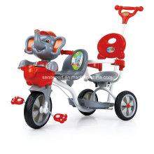 China Elefante de dibujos animados Twin bebé triciclo con doble asientos (SNTR870D)