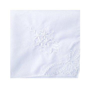Mariage de broderie de mouchoir de coton blanc Womes