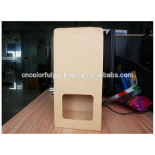 kraft paper Side guisset food packaging bag with window