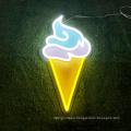 Wall hanging RGB ice cream neon signs  custom unbreakable led neon logo sign with acrylic backborad
