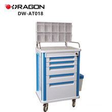 Doctor Or Nurse Using Hospital Medical Cart With Drawers Anesthesia Trolley