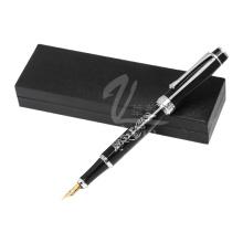 Estilo de moda negro pluma estilográfica profesional pluma de metal