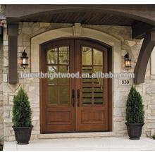 Porta de madeira cinzelada exterior do projeto da porta de Endtry do estilo rural com vidro