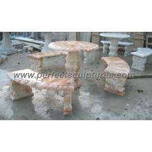 Banco de mesa de mármol de piedra antigua para el ornamento del jardín (QTS015)