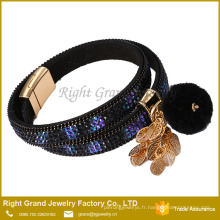 Chaud! Cristal Pavé Bracelet Bracelet Personnalisé en cuir Bracelet