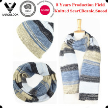2016 Trendy Hot Selling Colorful Stripe Knitted Scarf with Beanie Snood
