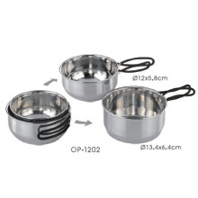 Stainless Steel Outdoor Pot Set with Silicone Handle