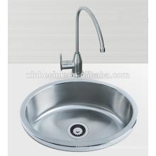 Aço inoxidável SUS 304 Rodada lavatório único, pia bar, pia da cozinha