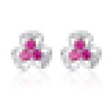 Women′s Fashion 925 Sterling Silver Three Petal Flower Inlay Crystal Earrings