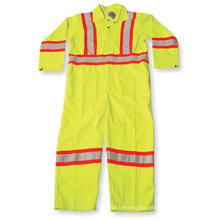 Lime Green Polyester/Cotton Coverall with Reflective Tape