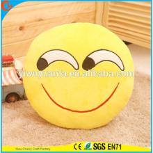 Hot Selling High quality Novelty Design Funny Emoji Emoticon Almofada Redonda Amarela
