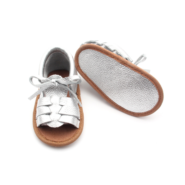Silver Genuine Leather Moccasins Sandals Baby Shoes