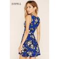 Fashion Tief-V Floral Mini Skater Kleid