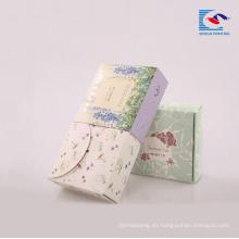 Caja de papel de arte reciclada personalizada para jabones de mano con logotipo impreso spot UV
