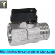 Válvula de esfera de latão banhado a níquel mini (a 0128)