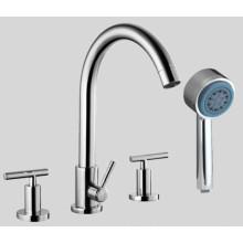 Robinet de baignoire à 4 trous avec douche à main personnelle et poignées à levier