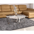 marble top flower shape coffee table sets living room furniture stainless steel table