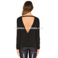 Retour cut-out personnalisé t-shirt femmes coton à manches longues chemise