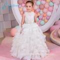 Lace Sashes Bow Cascading Ruffle Fall Wedding Flower Girl Dresses
