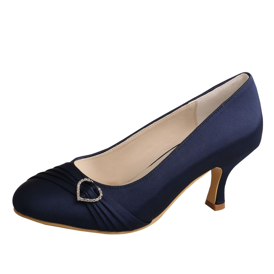 Navy Satin Shoes For Wedding