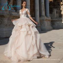 Court Train Half Sleeve Scoop Empire Western Wedding Dresses