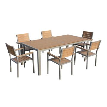 Jardín/al aire libre muebles 7pc imitado madera juego de comedor