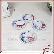 Coasters cerâmicos com bandeja de madeira