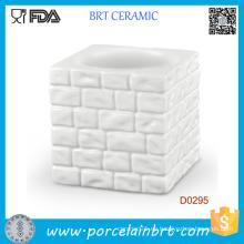 Titular de la taza de huevo de cerámica de la cocina de la pared del cubo blanco