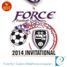 China-kundenspezifische Großhandels-Emaille-Metallmedaille für Fußball-Einladungs-Match-Weiß