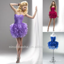 Cranberry Royal Blue Deep Lavender Sweetheart Tiered Ball Gown Mini robe de graduation courte Homecoming Gown
