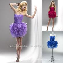 Cranberry Royal Blue Deep Lavender Sweetheart Tiered Ball Gown Mini vestido de graduação curto Homecoming Gown