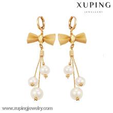 90095 Xuping Bow-knot Drop Earring Pendientes de perlas con estilo calientes