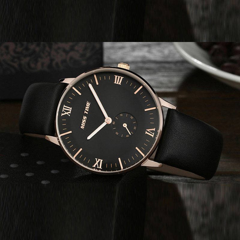 OEM quartz watch with sub-dial design leather belt