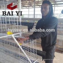 Cage de batterie de couche de poulet de 4 rangées pour la ferme de volaille de la Tanzanie