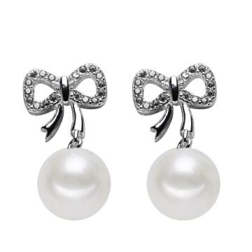Runde 925 Silber Natürliche Schöne Bowknot Ohrring Perle