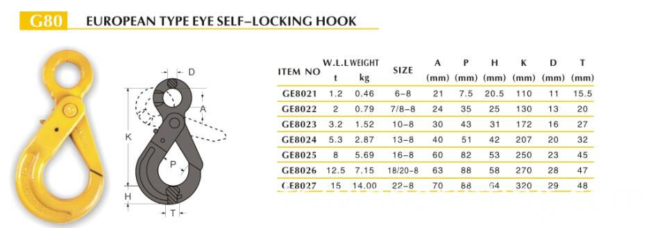 G80 EUROPEAN TYPE EYE SELF-LOCKING HOOK