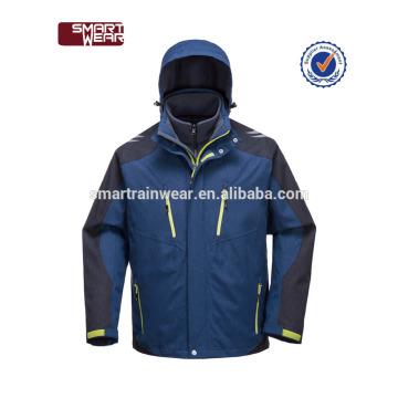 Tissu de polyester 3 dans 1 veste d'hiver d'hommes de veste de preuve de l'eau avec le capot