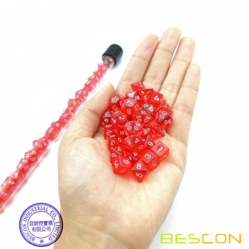 Bescon 28pcs Translucent Red Mini Polyhedral dados en tubo, Ruby Dice Dungeons and Dragons 4X7pcs, Mini Ruby Gem Dice Set