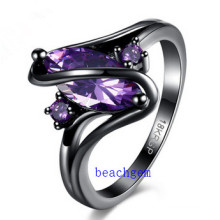 Black Plated Color CZ Jewelry Rings (R0843)